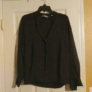 NWOT Vince Black 100% Silk blouse